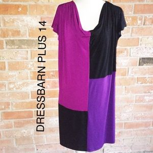 Color Block Stretchy Dress By Dressbarn EUC SZ 14